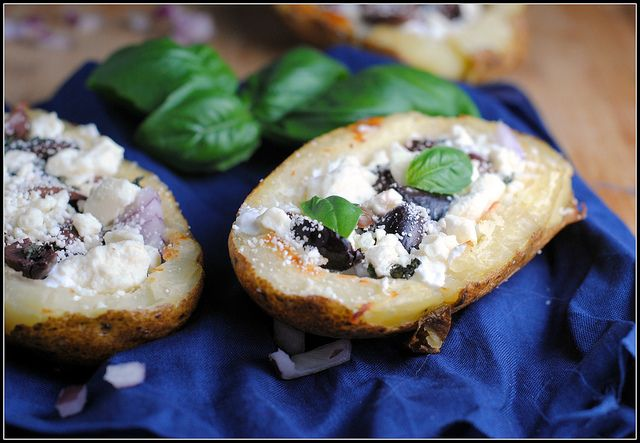 Greek-Style Potato Skins | Vegetarian Kai | Pinterest
