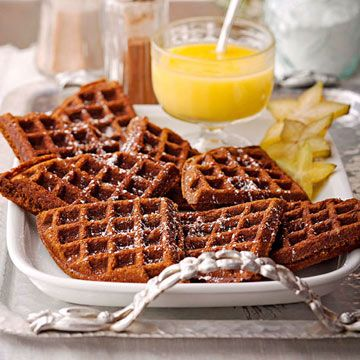Gingerbread Waffles with Hot Lemon Curd Sauce - Holiday recipes from ...