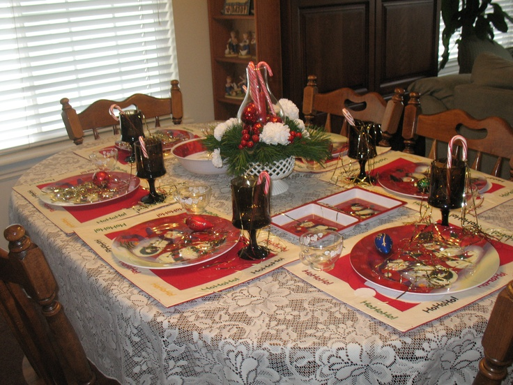 The Christmas Dining Room Table Set Up Dining Are We Pinterest & Dining Table Set Up For Christmas. The Christmas Dining Room Table ...