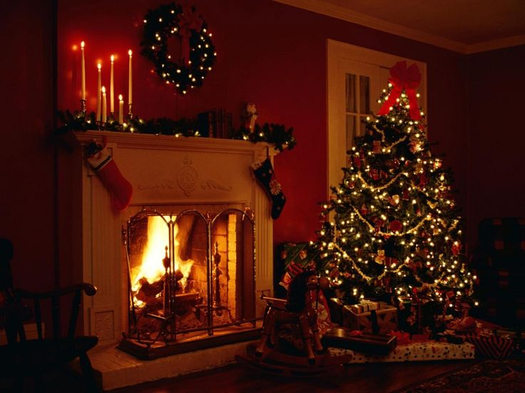 1280x960 Wallpaper christmas, holiday, fireplace, christmas tree, garlands, candles, toys, gifts