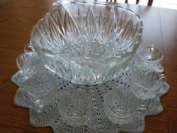 Vintage crystal punch bowl