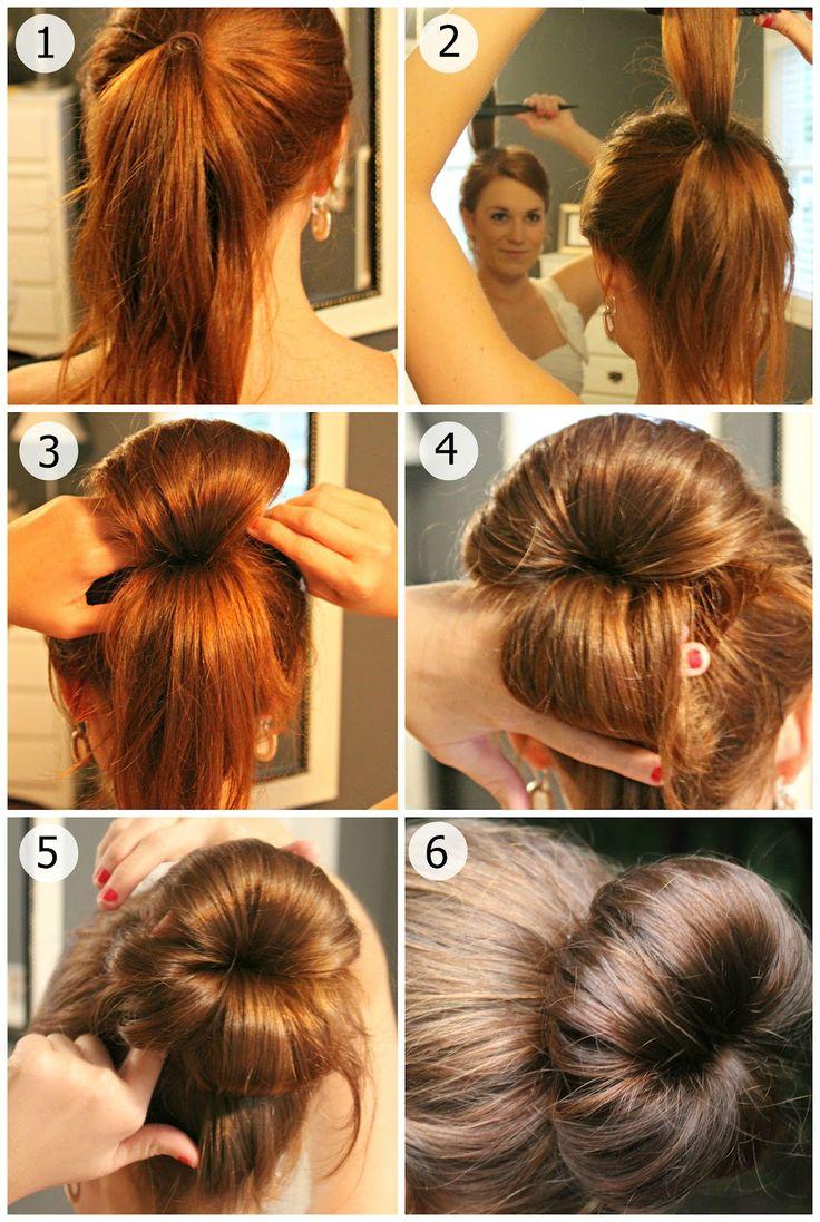 Как делать пучок на волосах фото