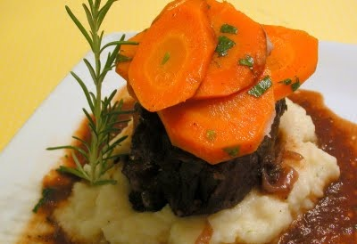 ... Merlot-Braised Beef Short Ribs with Rosemary-Parsnip Mashed Potatoes