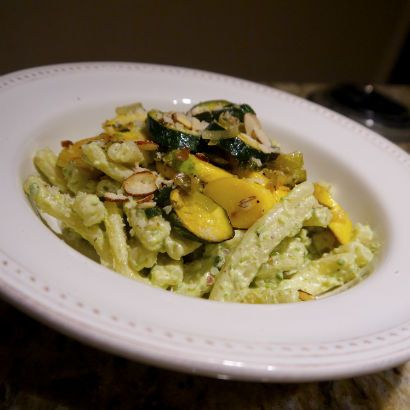 Garlic Scape Pesto Pasta with Sautéed Summer Squash: Seasonal Chef ...