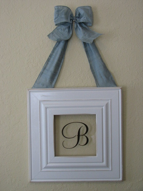 Baby boy distressed white monogram frame hung with baby