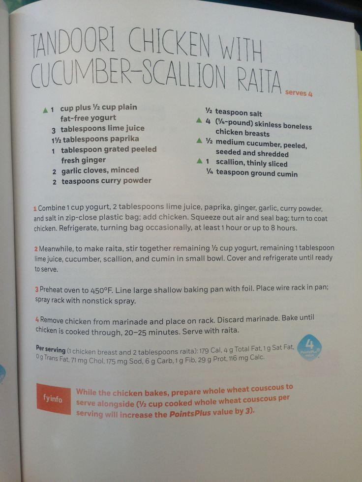 Tandoori Chicken with Cucumber-Scallion Raita (WW 4)