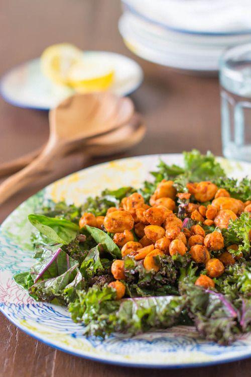 Crispy Chickpea Kale Salad | Sweetly | Pinterest