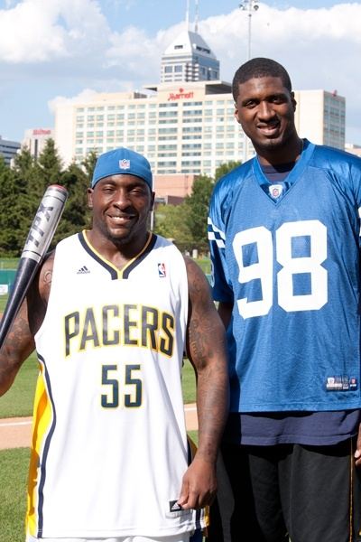 Roy Hibbert and the Colts' Robert Mathis co-hosted the Caroline Symmes Memorial Celebrity Softball Challenge to benefit the Indiana Children's Wish Fund.