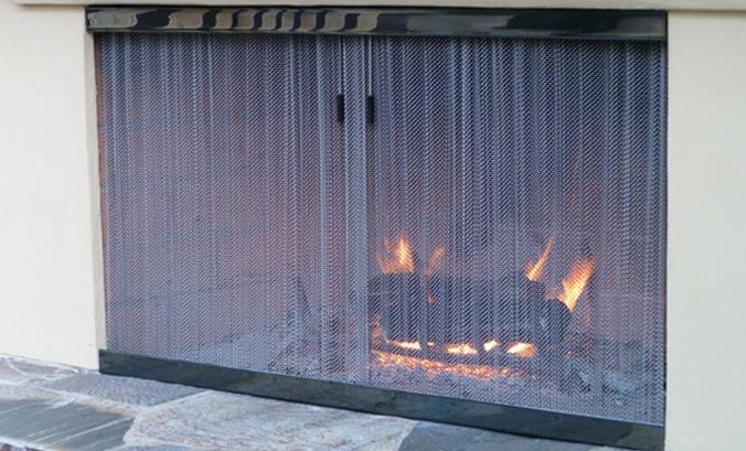 Cascade Coil outdoor fireplace screen