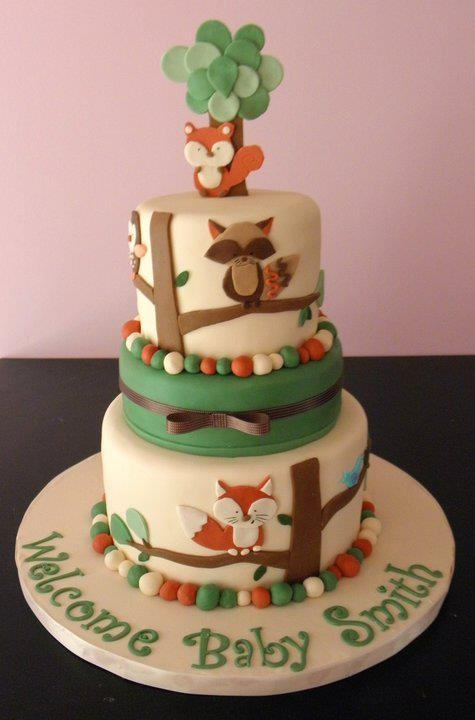 woodland critters cake baby boy shower pinterest