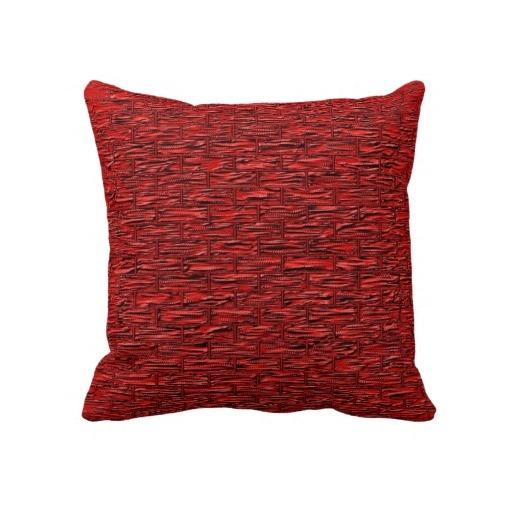 Deep Red Brick Pattern Lumbar and Throw Pillows