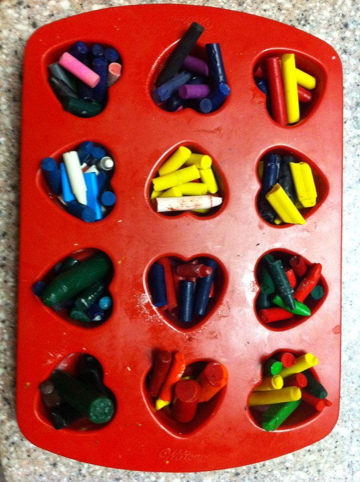 DIY. Turn broken pieces of crayons into multi-colored crayons!