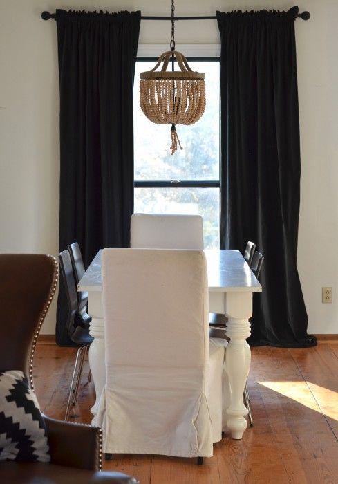 black curtains, white walls