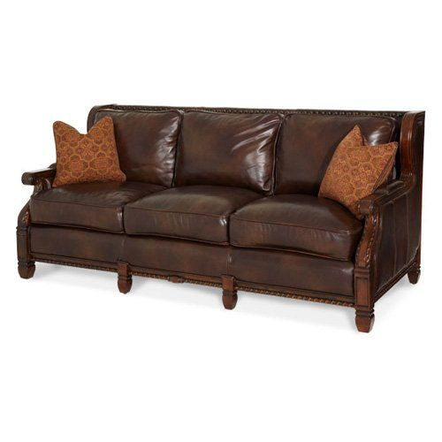 Have to have it. Aico Windsor Court Leather and Fabric Sofa $2629.99