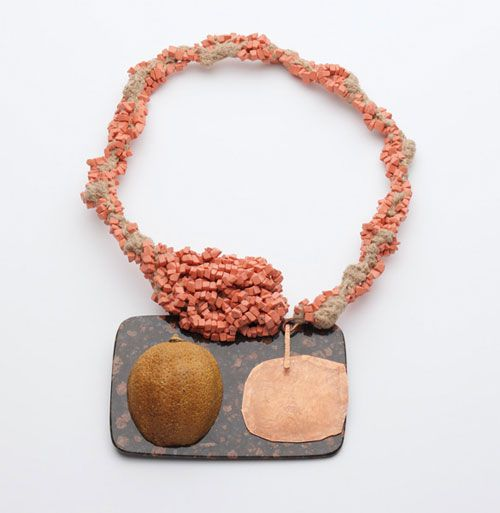 Iris Bodemer Neckpiece: Ingredients 2008 Agate, copper, lemon, reconstructed coral, wool 25 x 17 x 2, 5 cm