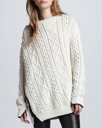 Yummy but would I look like a moose ? Oversized Cable Knit Pullover, Ivory by 3.1 Phillip Lim at Neiman Marcus.
