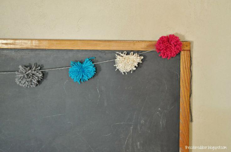 Diy yarn pom poms the colored door lds church pinterest