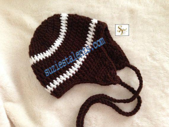 Crochet Pattern Baby Hat Free : PATTERN PT075 - Baby Football Hat, Crochet Baby Hat ...