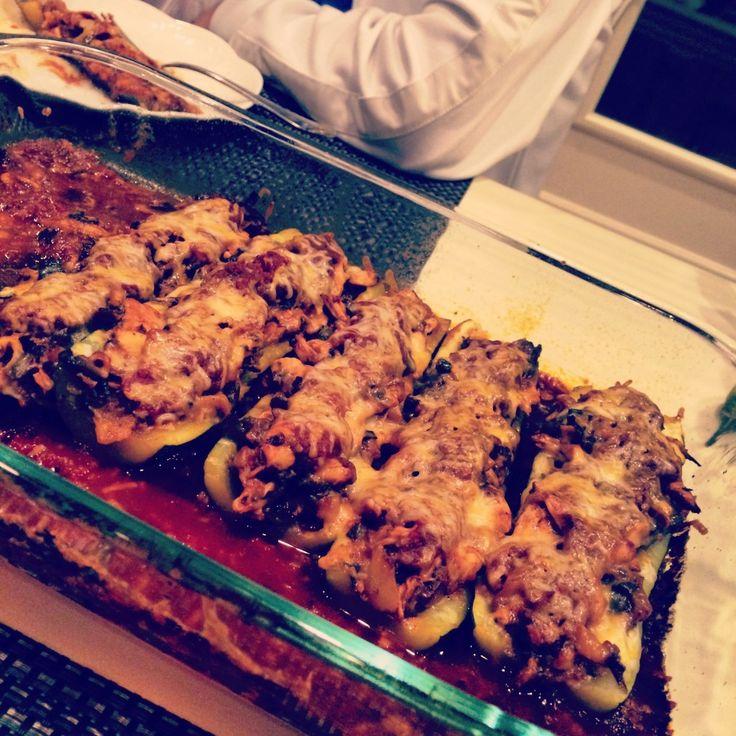 chicken enchilada stuffed zucchini | food coma | Pinterest