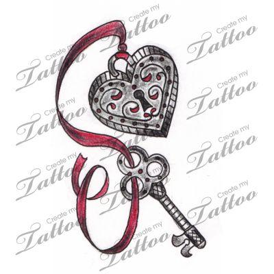 vintage heart locket and key tattoo tattoo design heart tattoo designs pinterest. Black Bedroom Furniture Sets. Home Design Ideas