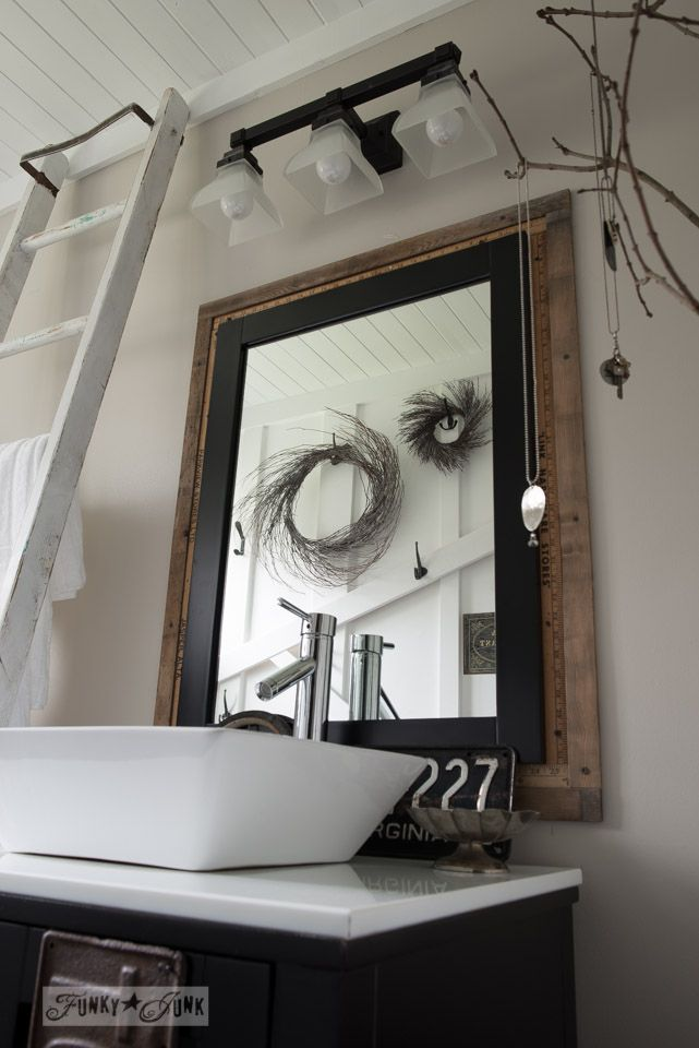 Salvaged farmhouse bathroom makeover a mix of reclaimed for Bathroom picture frame ideas
