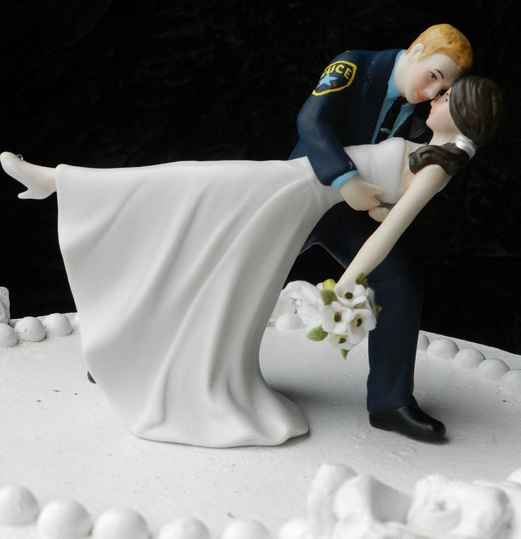Police Officer Cop Groom Uniform Wedding Cake Topper Dance Bride Gun
