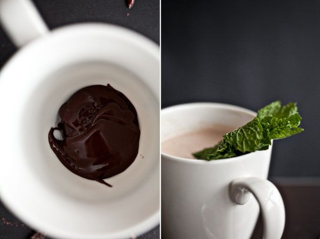 Fresh Mint Hot Chocolate. Made with homemade ganache. Can't go wrong ...