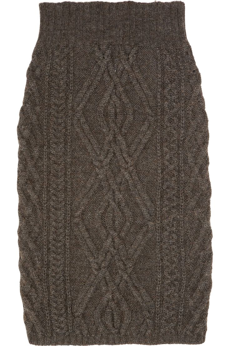 Easy Mittens Knitting Pattern : Cable-knit merino wool-blend skirt