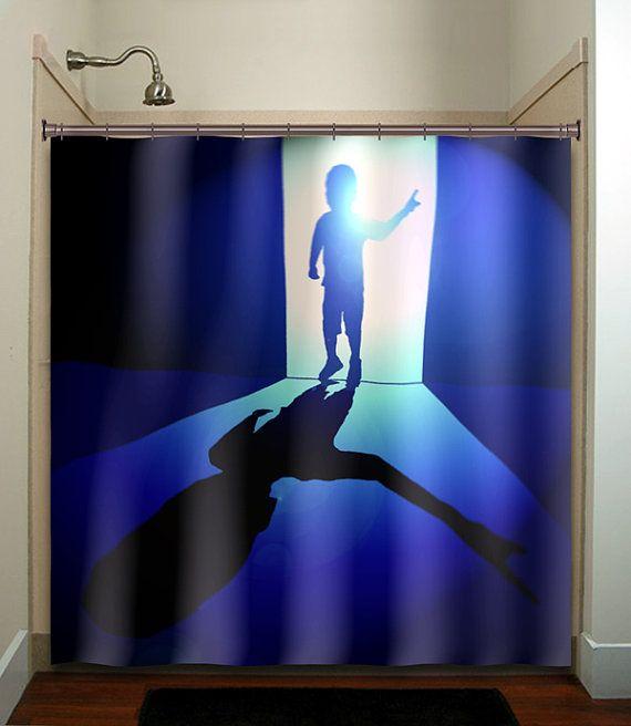 alien kid little boy blue shower curtain bathroom decor fabric kids b ...