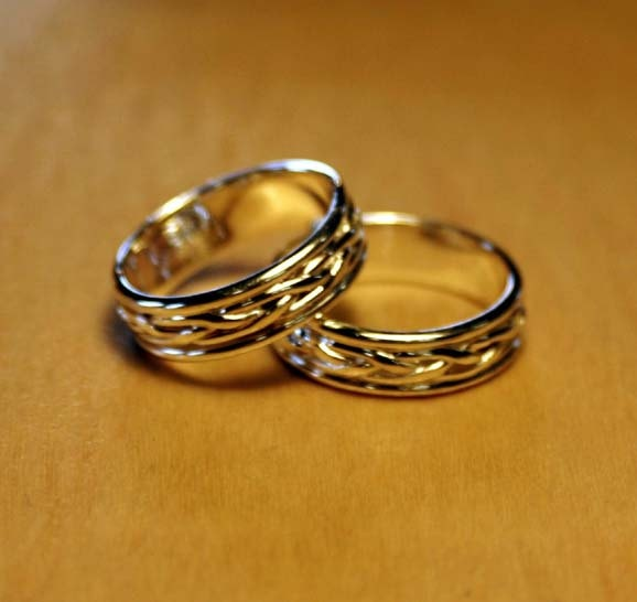 Celtic Braided Band Rings (Matching Pair). 150.00, via Etsy.