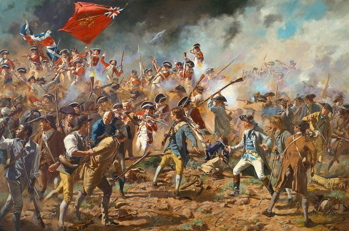 "Don Troiani Historical Artist ""The Redoubt"" During the closing moments of the battle of Bunker/Breed's Hill the British Marines and 47th Foot storm over the side of the Patriot redoubt and Dr. Joseph Warren (light blue silk waistcoat and white breeches) is about to meet his fate."