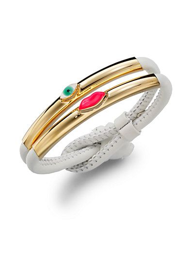 Shop now: Delfina Delettrez - Lips & Eye Leather Corded Bracelet