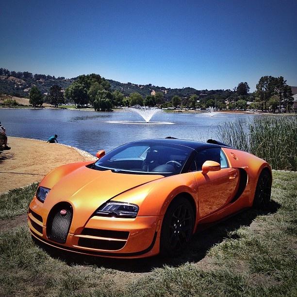 orange bugatti veyron grand sport vitesse at monterey car week 2012. Black Bedroom Furniture Sets. Home Design Ideas