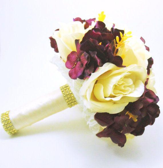 Eggplant Bouquet Eggplant And Ivory Wedding Bouquet Plum Bouquet P