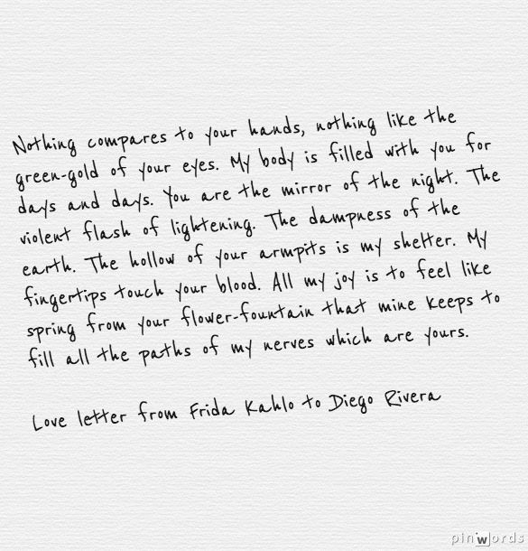 love letter from Frida Kahlo to Diego Rivera
