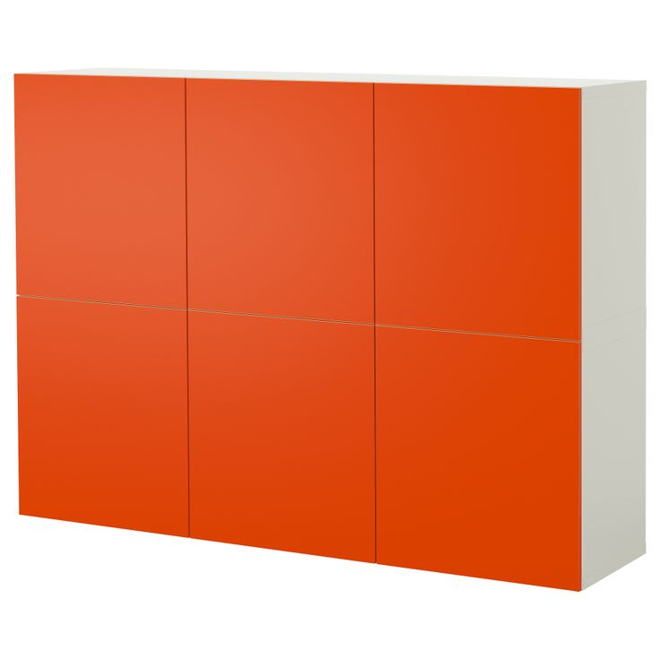 BESTÅ Storage combination with doors, white, orange Wall storage for