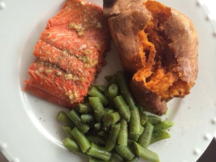 ... Milk Free Meal - Maple Glazed Salmon with Sweet Potato and Green Beans
