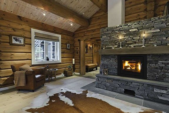 Log Cabin Fireplaces Rustic Retreats Pinterest