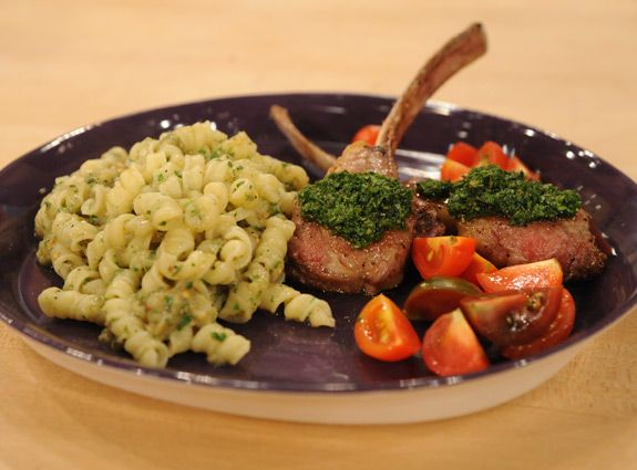 Roasted Eggplant Pasta and Pesto topping for Broiled Lamb Chops or ...