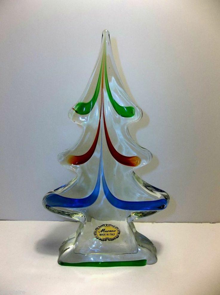 Vintage murano art glass christmas tree 8 red green blue - Murano glass christmas tree ...