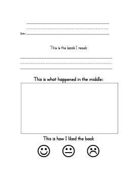 KINDERGARTEN BOOK REPORT - TeachersPayTeachers.com