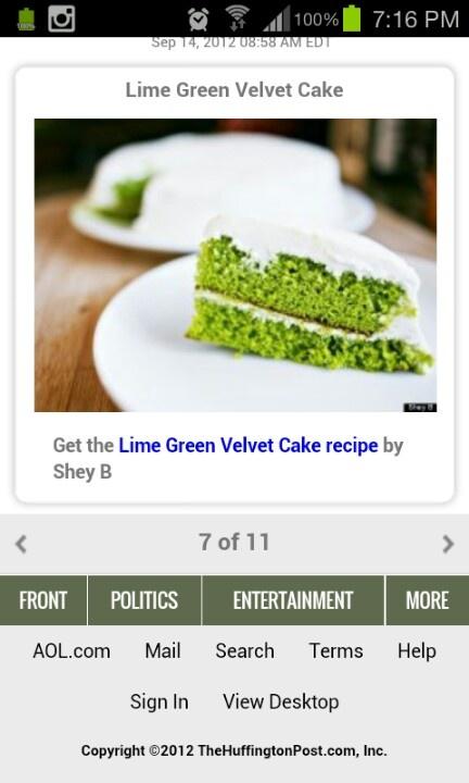 Lime green velvet cheese cake | Caaaake | Pinterest