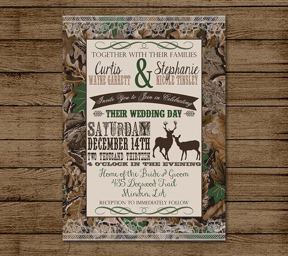 Customized wedding invitation camo deer camouflage couples shower
