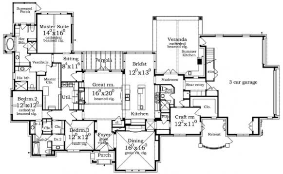 Luxury Ranch House Plan Assisi Front Floor Plans Pinterest