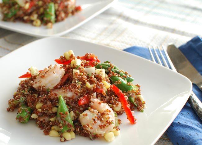 Quinoa salad with shrimp,asparagus, corn and herb lime vinaigrette