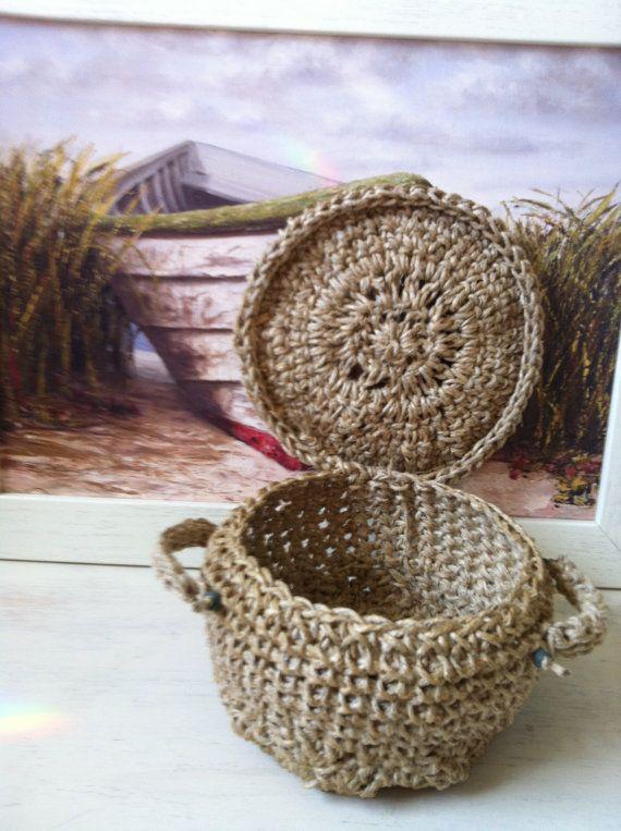 Hand Crochet Brown Jute Basket with Lid for Primitive ...