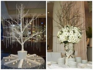 Varios centros de mesa para las bodas de invierno - Gran Manzana Flores (foto de la derecha)