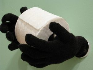 Make creepy hands to hold the toilet paper