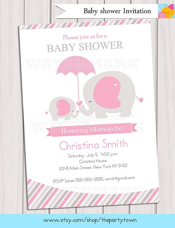 elephant baby shower invitation pink elephant baby shower invitation