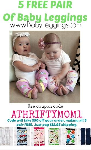 FREE Baby Leggings at BabyLeggings.com with coupon code ATHRIFTYMOM1, just pay shipping.  WOW such a great deal, gift idea